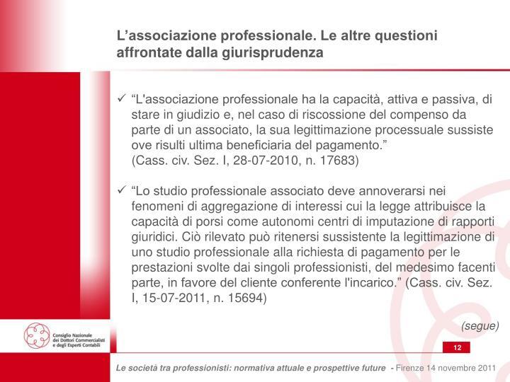 L'associazione professionale. Le altre questioni affrontate dalla giurisprudenza