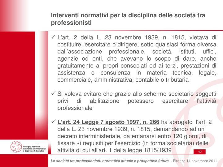 Interventi normativi per la disciplina delle società tra professionisti