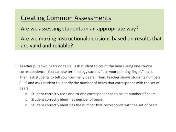 Creating Common Assessments