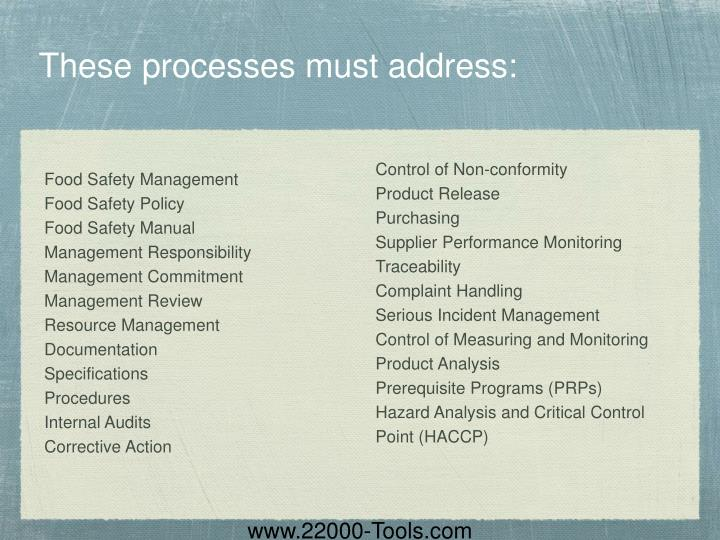 These processes must address: