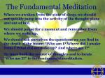 the fundamental meditation
