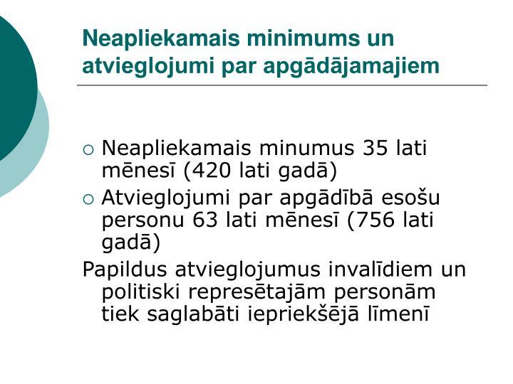 Neapliekamais minimums un atvieglojumi par apgādājamajiem