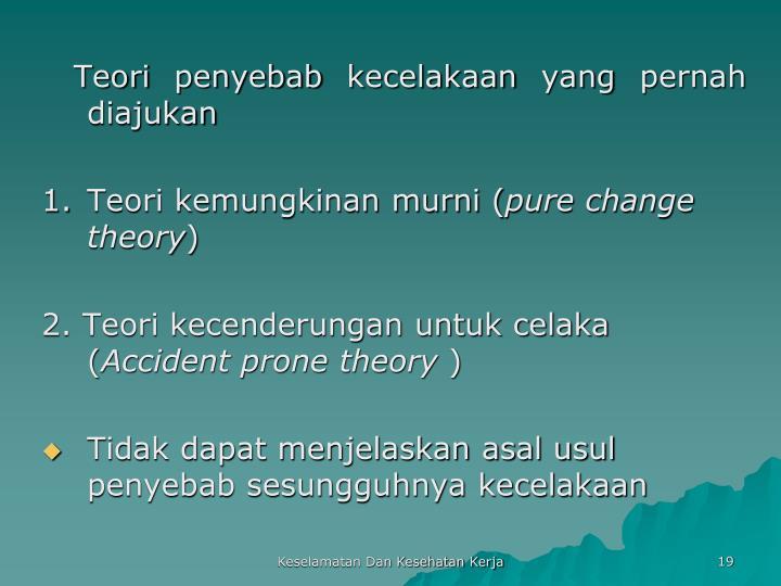 Teori penyebab kecelakaan yang pernah diajukan