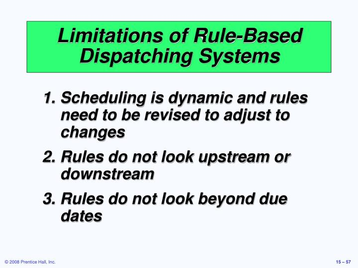 Limitations of Rule-Based Dispatching Systems