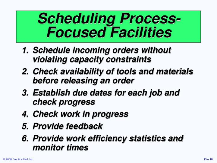 Scheduling Process-Focused Facilities