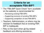 criteria for an acceptable fba bip