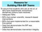 reasons for building fba bip teams