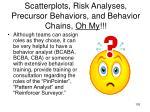 scatterplots risk analyses precursor behaviors and behavior chains oh my