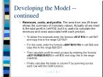 developing the model continued