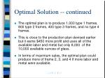 optimal solution continued