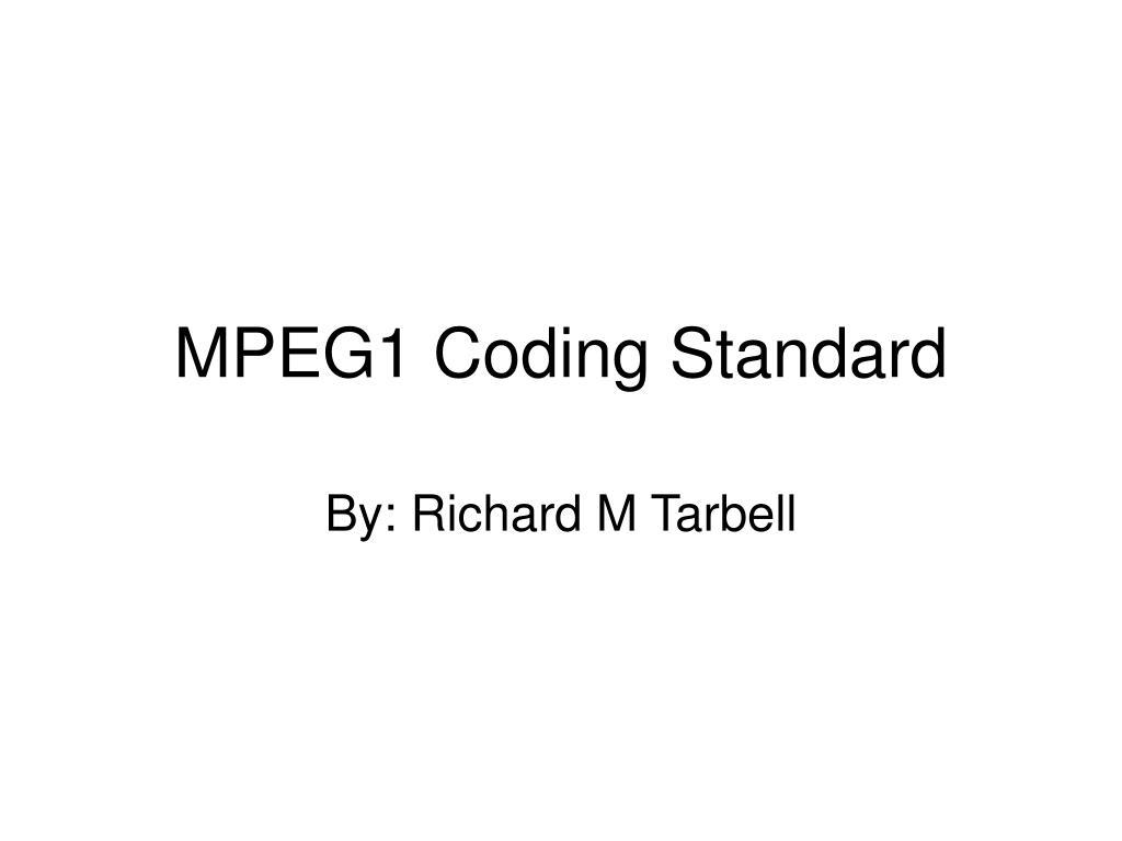 mpeg1 coding standard l.