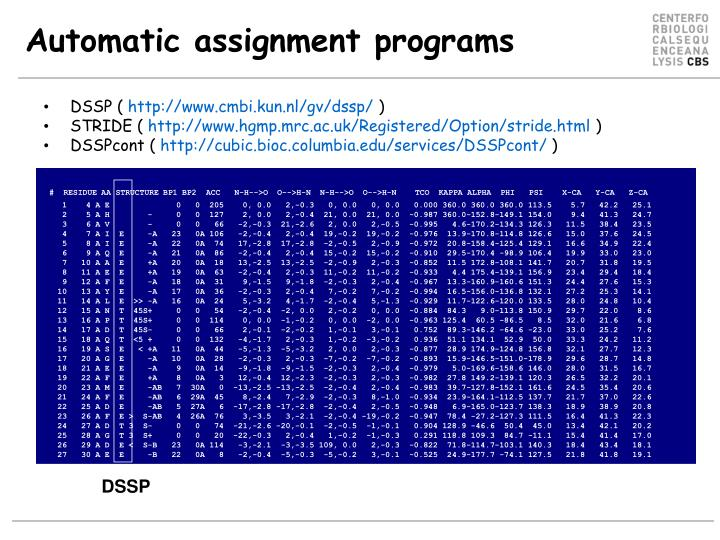 Automatic assignment programs