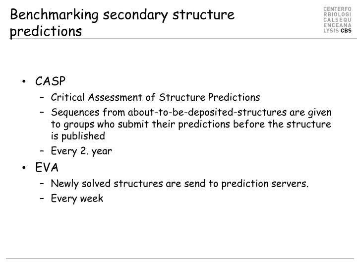 Benchmarking secondary structure predictions