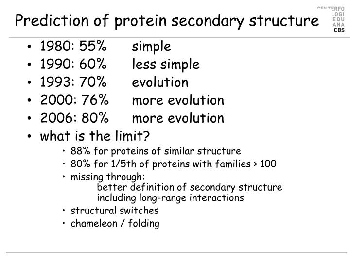Prediction of protein secondary structure