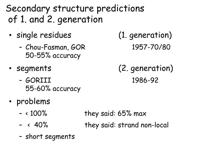 Secondary structure predictions