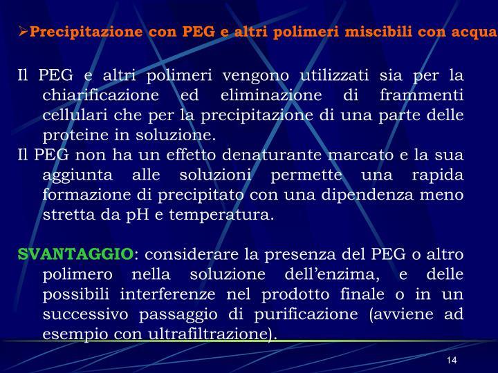 Precipitazione con PEG e altri polimeri miscibili con acqua