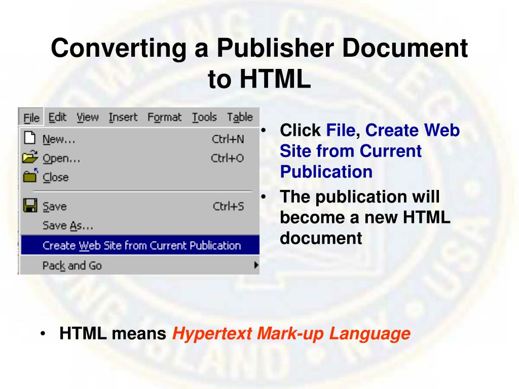 Converting a Publisher Document to HTML