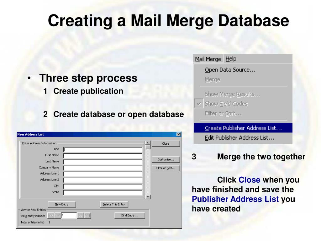 Creating a Mail Merge Database