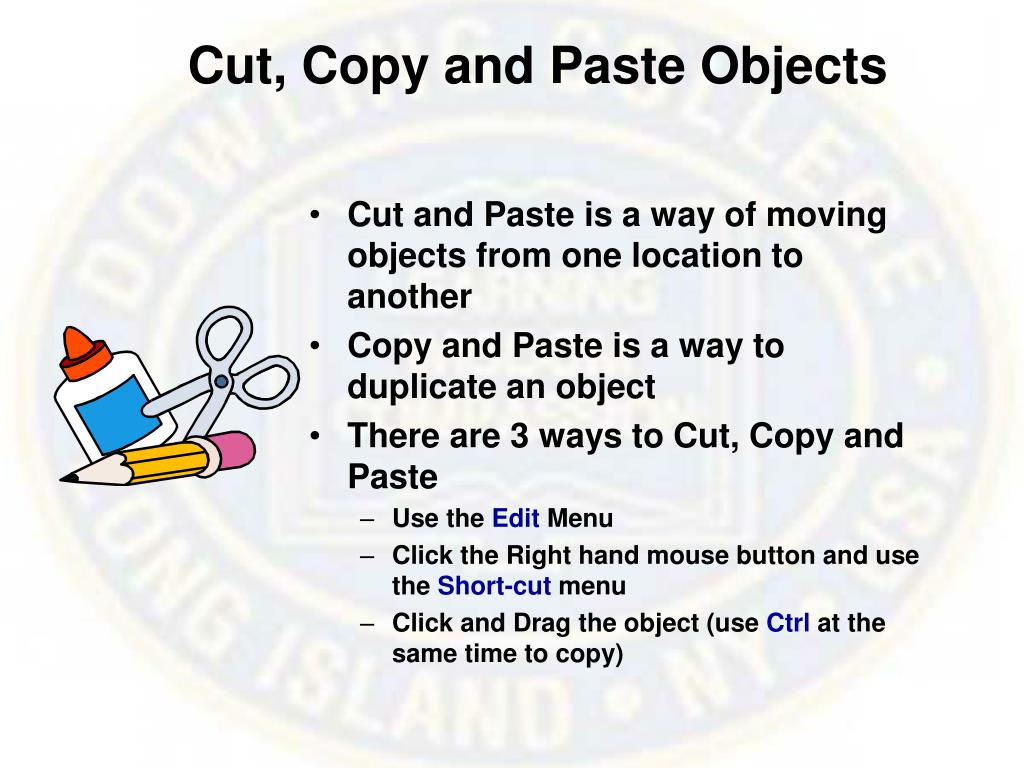 Cut, Copy and Paste Objects