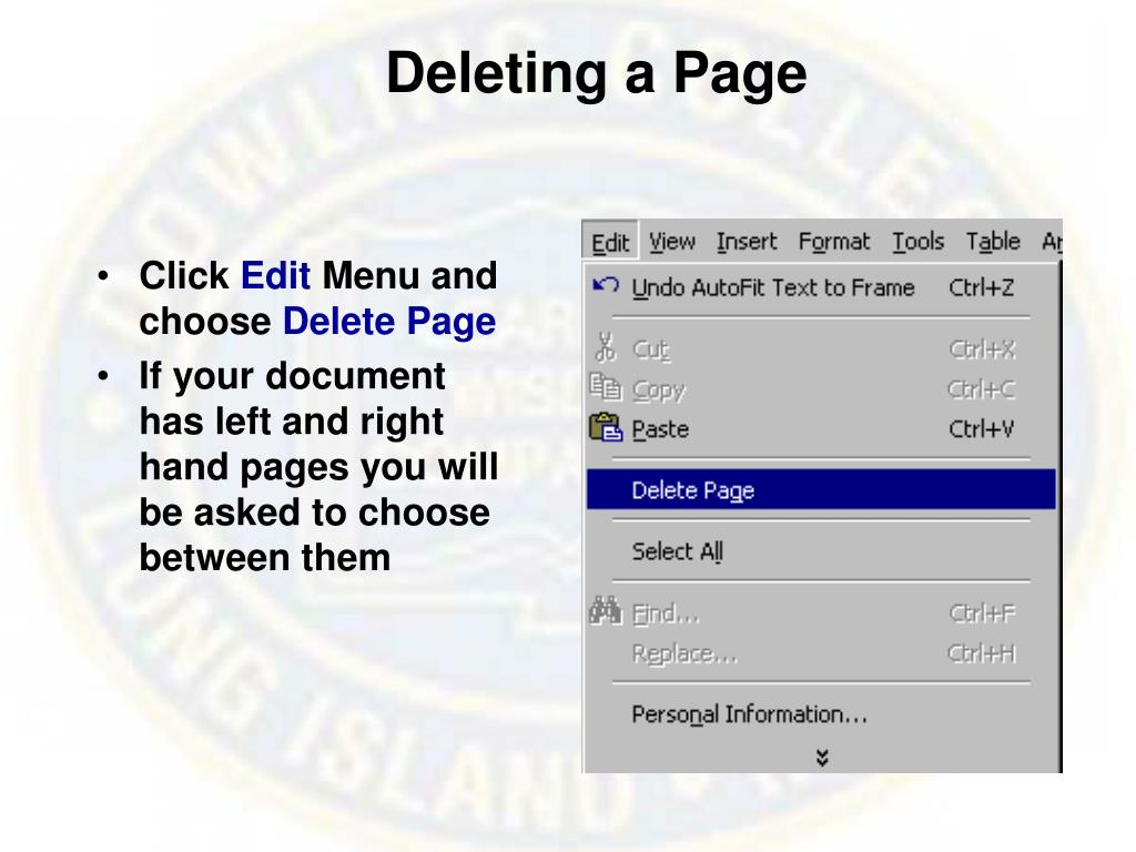Deleting a Page