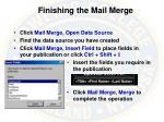 finishing the mail merge