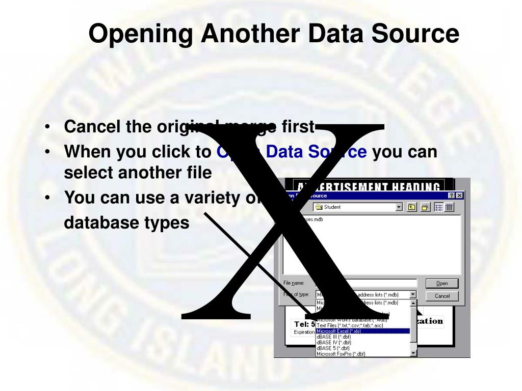 Opening Another Data Source