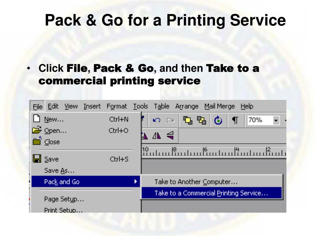 Pack & Go for a Printing Service