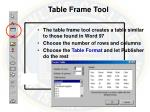 table frame tool