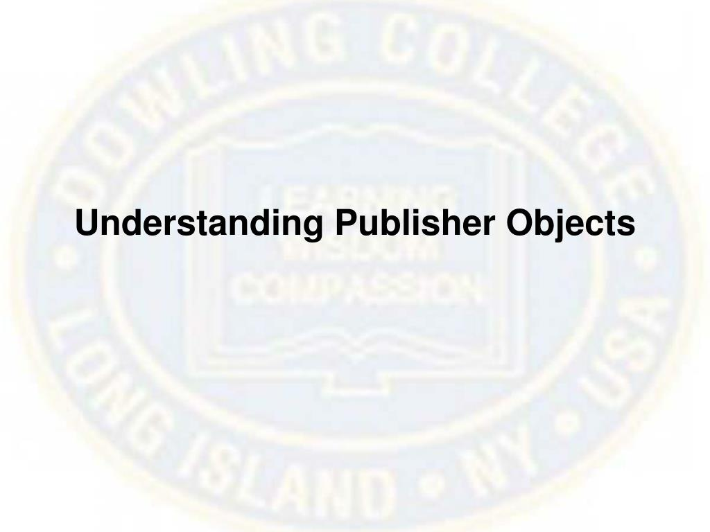 Understanding Publisher Objects