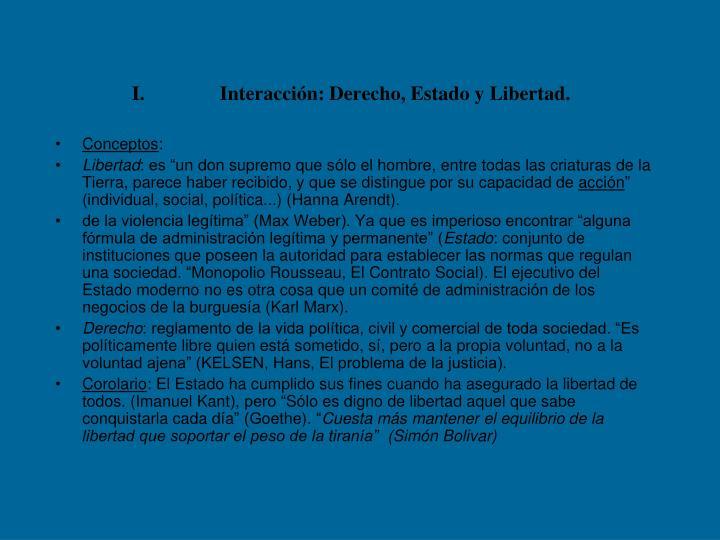 Interacción: Derecho, Estado y Libertad.