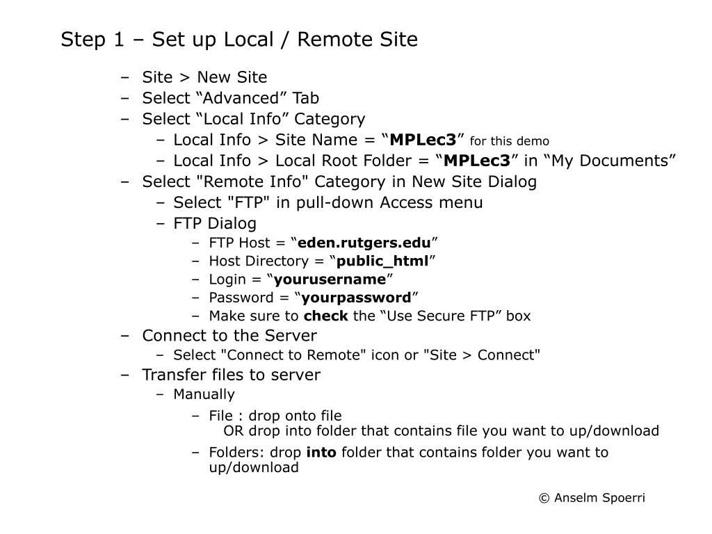 Step 1 – Set up Local / Remote Site