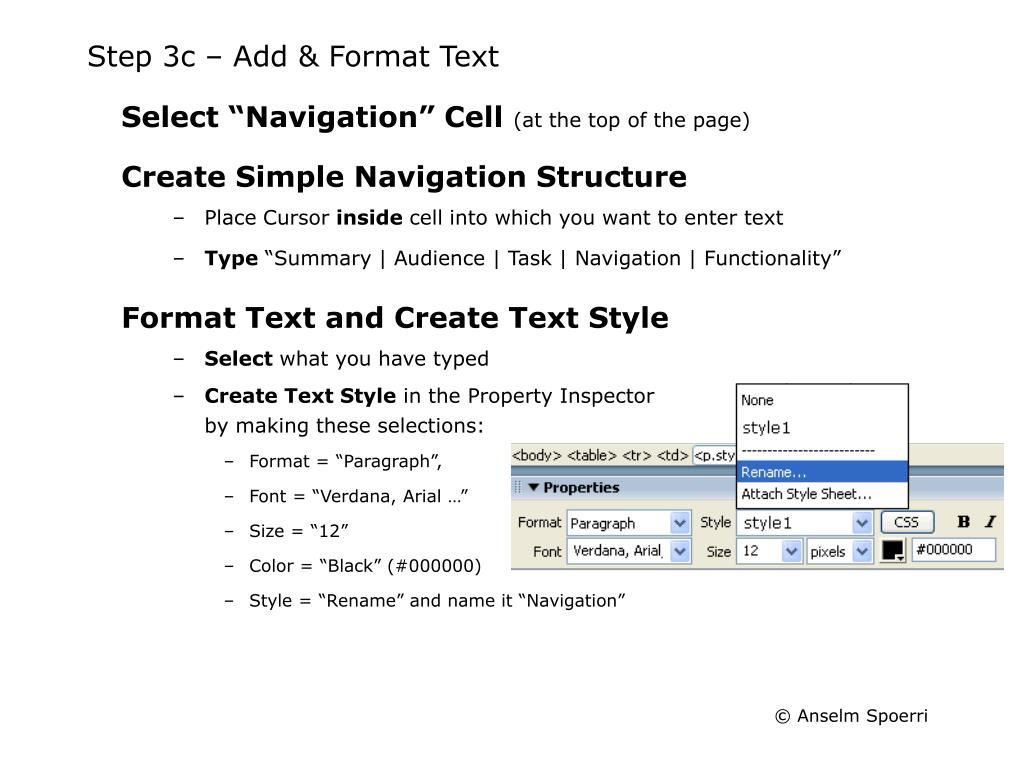 Step 3c – Add & Format Text