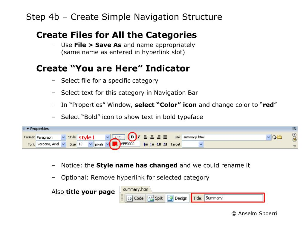 Step 4b – Create Simple Navigation Structure