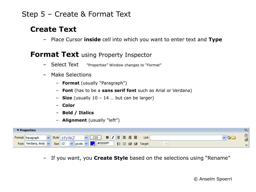 Step 5 – Create & Format Text