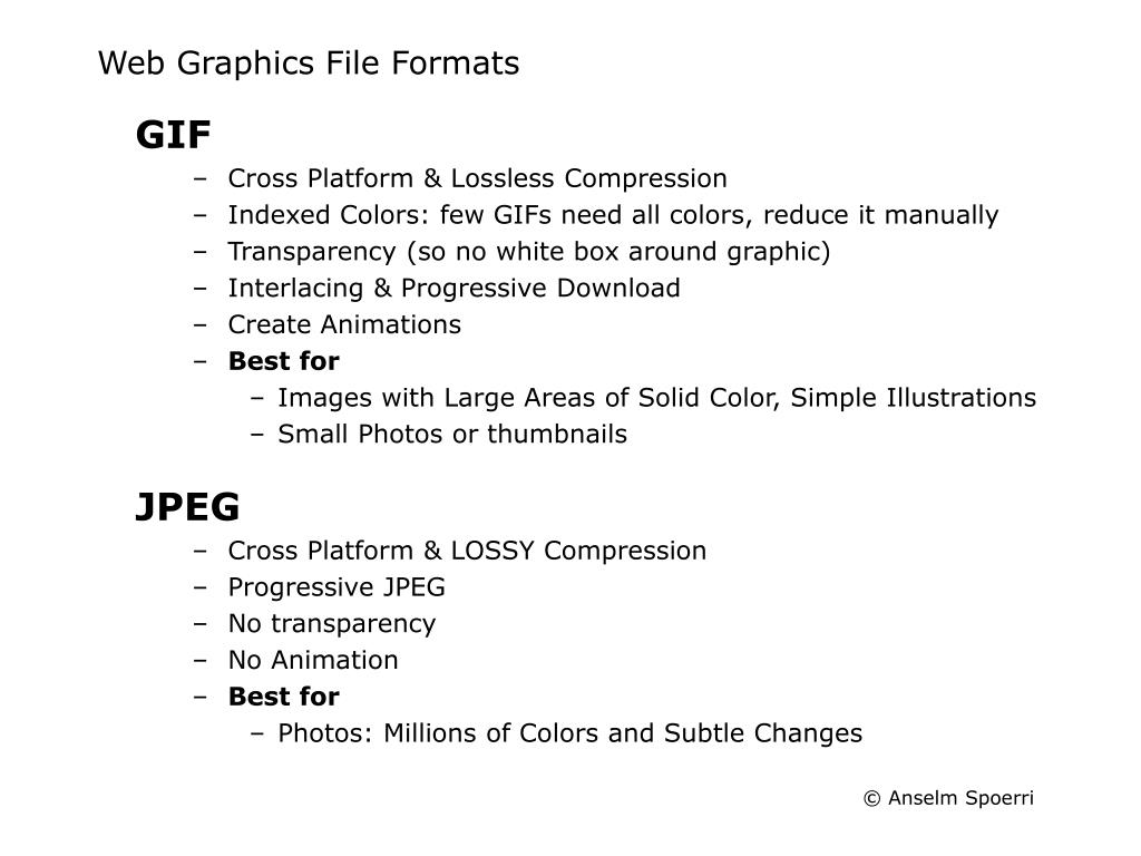 Web Graphics File Formats