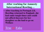 after working for amnesty international rowling