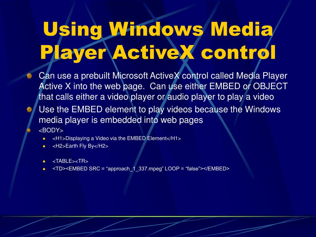 Using Windows Media Player ActiveX control