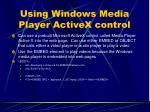 using windows media player activex control