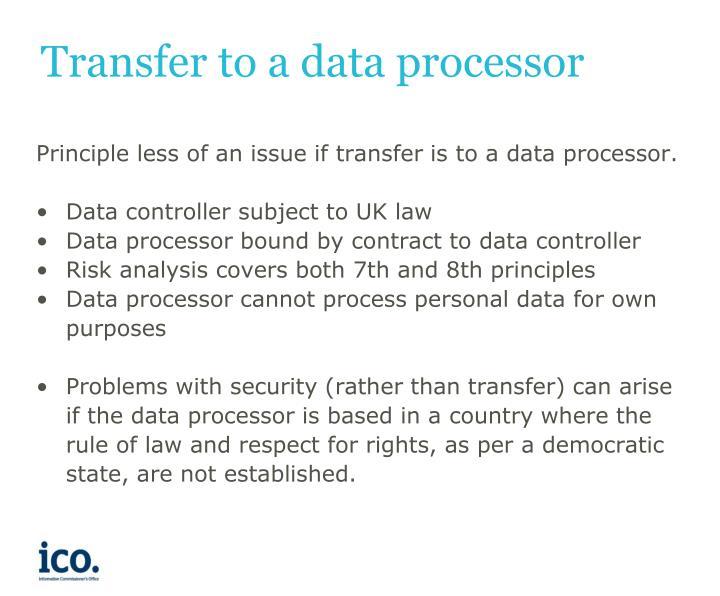 Transfer to a data processor