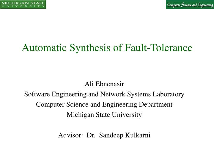 automatic synthesis of fault tolerance n.