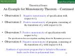theoretical issues an example for monotonicity theorem continued