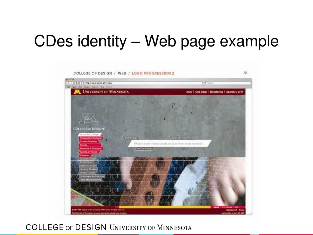 CDes identity – Web page example