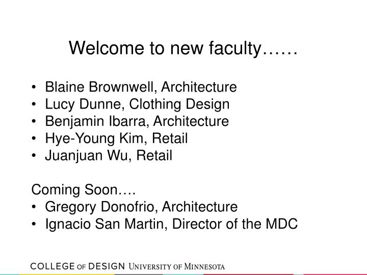 Welcome to new faculty