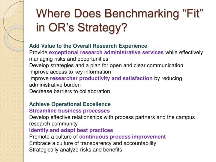 "Where Does Benchmarking ""Fit"" in OR's Strategy?"