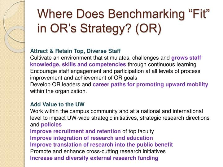 "Where Does Benchmarking ""Fit"" in OR's Strategy? (OR)"