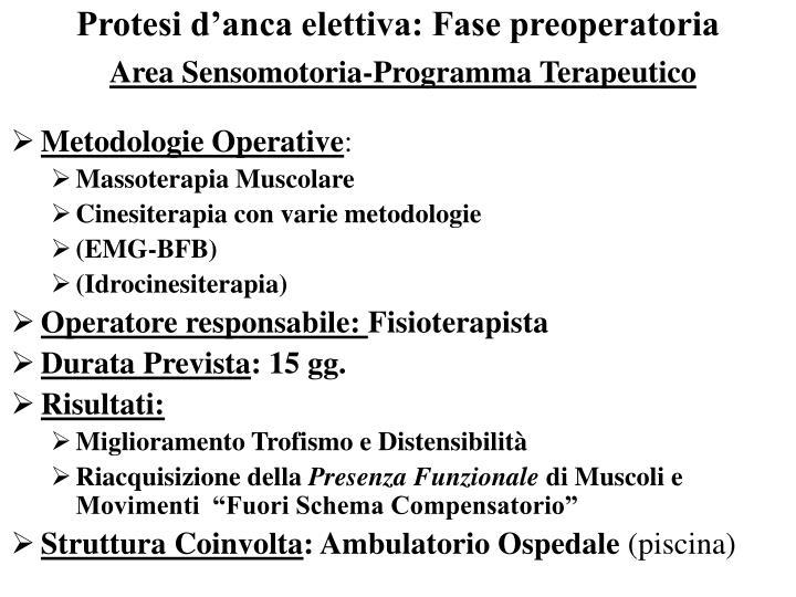 Protesi d'anca elettiva: Fase preoperatoria