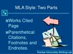 mla style two parts