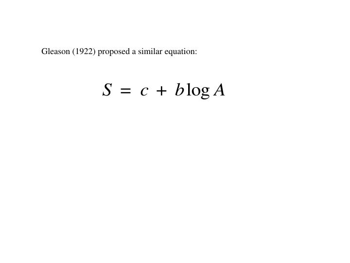 Gleason (1922) proposed a similar equation: