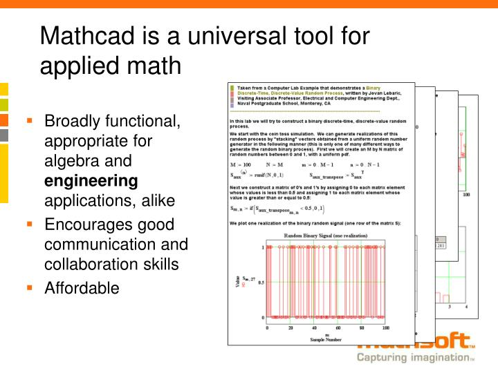 Mathcad is a universal tool for applied math