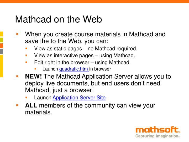 Mathcad on the Web